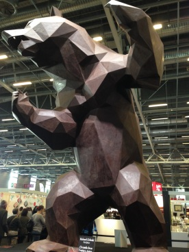 A 6m tall chocolate bear presides over the Salon du Chocolat, Paris, 2015
