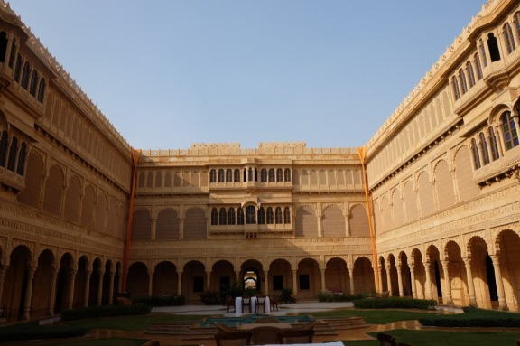 The fabulous courtyard at the luxurious Suryagarh hotel in Jaisalmer