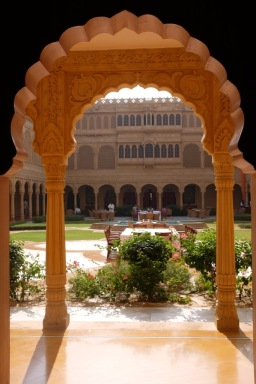 A view of the courtyard at luxurious Suryagarh hotel in Jaisalmer