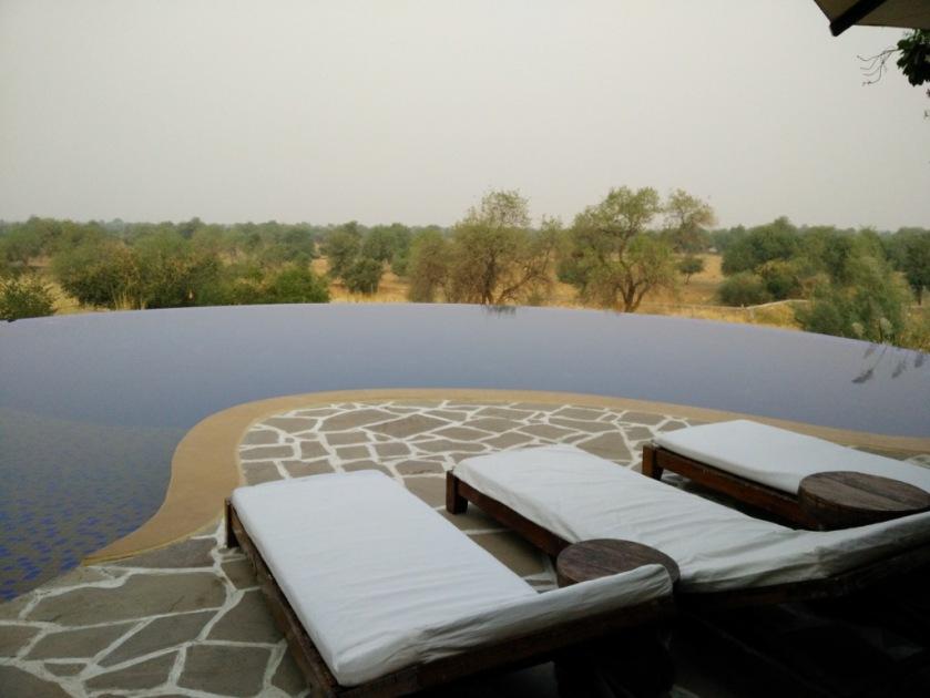 The infinity pool at luxurious Mihirgarh, Jaisalmer
