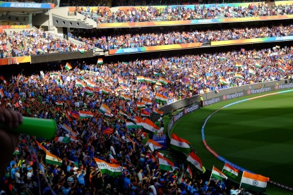 Indian flags waving in the Melbourne Cricket Ground