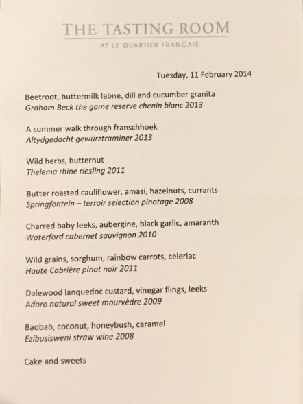 Sample Menu at The Tasting Room At Le Quartier Français, Franschhoek, South Africa