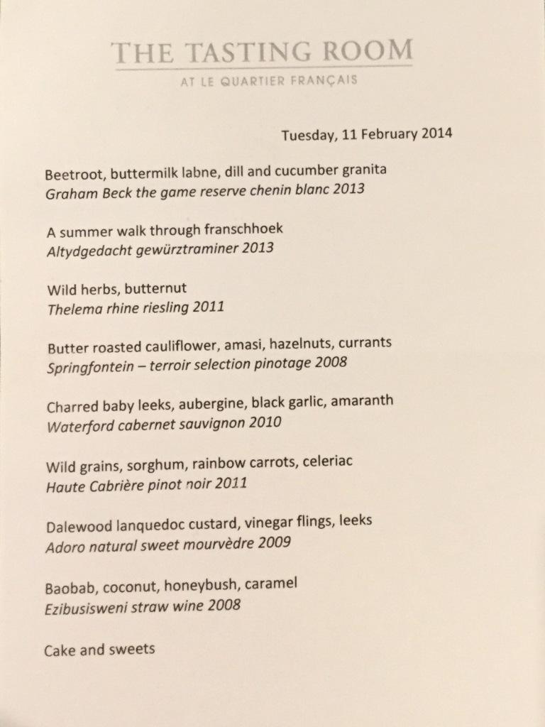 Sample Menu at The Tasting Room At Le Quartier Français, Franschhoek, South Africa