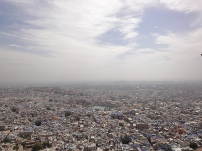 Bird's eye view of the blue city from Mehrangarh Fort