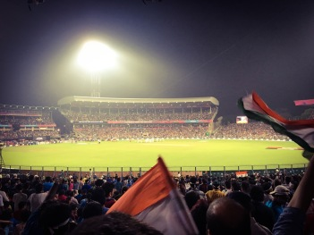 Waving flags - Eden Gardens, Kolkata, India. T20 World Cup, 2016.