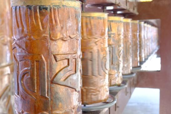 Prayer Wheels Inscribed with Om Mani Padme Hum - Buddhist mantra, Mussoorie, Uttarakhand, India