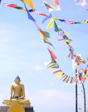 Waving flags at the Buddhist Monastery - Mussoorie, Uttarakhand, India